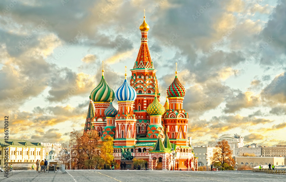 Fototapety, obrazy: Moscow,Russia,Red square,view of St. Basil's Cathedral