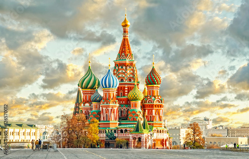 In de dag Moskou Moscow,Russia,Red square,view of St. Basil's Cathedral