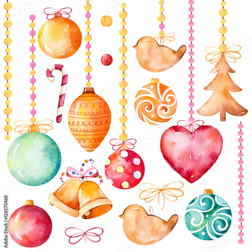 Fotografía  Watercolor collection of 19 high quality hand painted watercolor elements(bell,heart,Christmas balls,decorations) Christmas and New Year set