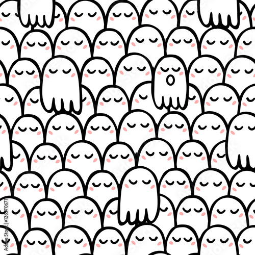 Cotton fabric Seamless vector pattern of cute ghosts with a blush superimposed on each other. One ghost with an open mouth.