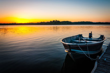 Fishing Boat On Tranquil Lake ...