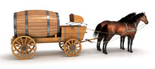 Horse Carriage With A Large Barrel. 3d Image.