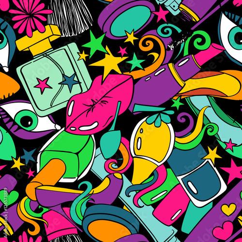 Foto auf AluDibond Graffiti Colorful Seamless Pattern Of Beauty Decorative Cosmetics.
