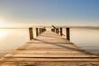 canvas print picture - Bezaubernder Ausblick über den Steg am Starnberger See