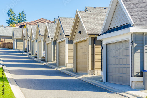 Row Of Garage Doors In Vancouver Canada Buy This Stock Photo And