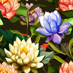Fototapeta Egzotyczne Lotus flowers and water lily with leaves. Set of design elements. Can be used in design, appearance, cards, wreath and etc. Hand drawn. All elements are separated and easy to move. Vector - stock.