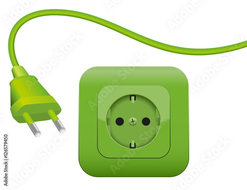 Fotografía  Green plug and socket - clean eco power - green energy- SCHUKO connector system