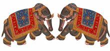 Caparisoned Elephants On Parade.