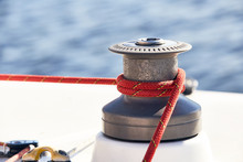 Sheet On The Winch On A Yacht ...
