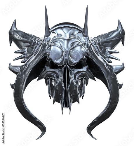 Fotografija  Metallic skull design isolated on white background
