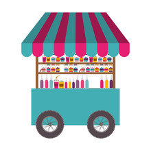 Soft Drinks Cart Icon Over White Background. Street Business Design. Vector Illustration