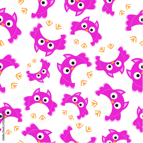 Seamless background of Christmas illustration with cute pink owl suitable for wallpaper, scrap paper, and postcard