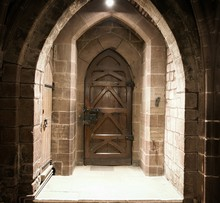 Vintage Wooden Door, Closed, Sandstone Wall