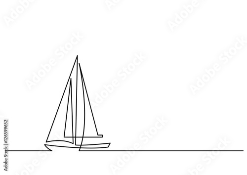 Fotografie, Obraz  continuous line drawing of sailboat
