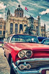 Fototapeta Miasta Vintage classic american car in a street of Old Havana