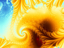A Spiral Fractal In Vivid Yellow, Brown And Blue Resembling A Volcano On An Island. Suitable As A Background For Desktop Or For Many Creative Designs.
