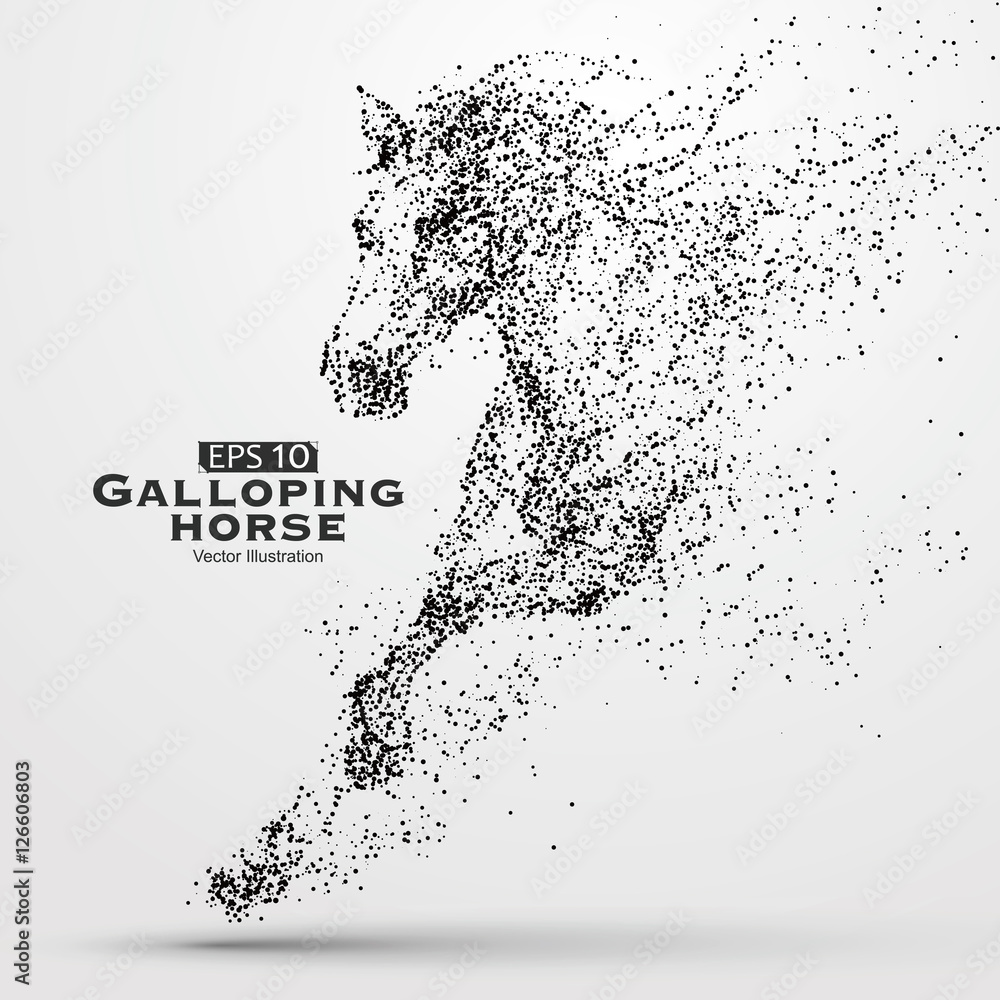 Fototapety, obrazy: Galloping horse,Many particles,sketch,vector illustration,The moral development and progress.