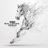 Fototapeta Konie - Galloping horse,Many particles,sketch,vector illustration,The moral development and progress.