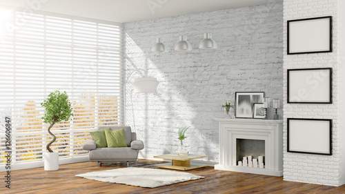 Fototapeta Modern bright interior . 3D rendering obraz na płótnie