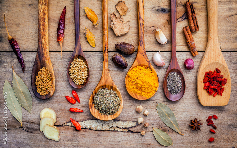 Fototapety, obrazy: Various herbs and spices in wooden spoons. Flat lay of spices in