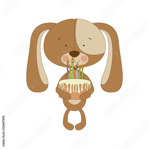 Dog Cartoon Character Holding Birthday Cake Icon Image Vector Illustration Design
