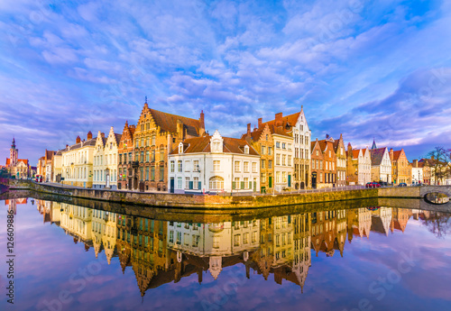 Poster Brugge Spiegelrei canal and Jan Van Eyck Square in the morning in Bruges, Belgium