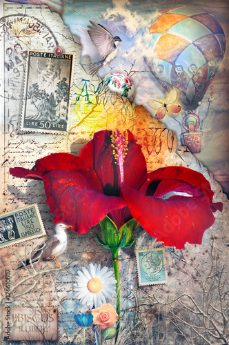 Garden Poster Imagination Old fashioned postcard with hibiscus flower,collage,hot air balloon