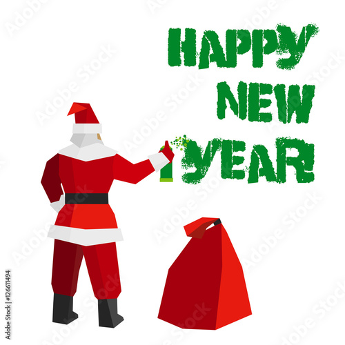 Christmas Graffiti Background.Santa Claus With Sprayer And Gift Bag Writes Words Happy