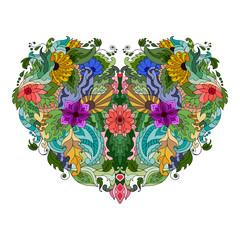 Panel Szklany Boho Hand drawn flower heart