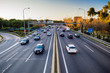 canvas print picture - Highway traffic view from the bridge in sunset