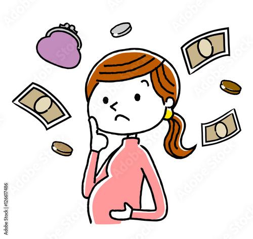 Fotografia, Obraz  妊婦:出産に関するお金、費用のことを考える