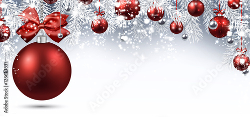 Foto-Doppelrollo - New Year banner with Christmas balls. (von Vjom)