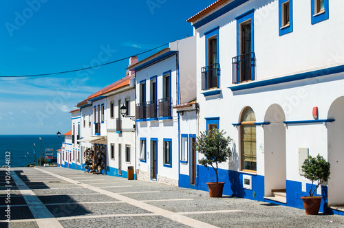 Photo Traditional blue and white Alentejo Portuguese buildings in Porto Covo, Portugal