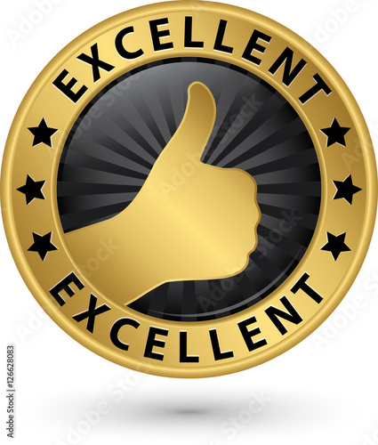 Fotografía Excellent golden sign with thumb up, vector illustration