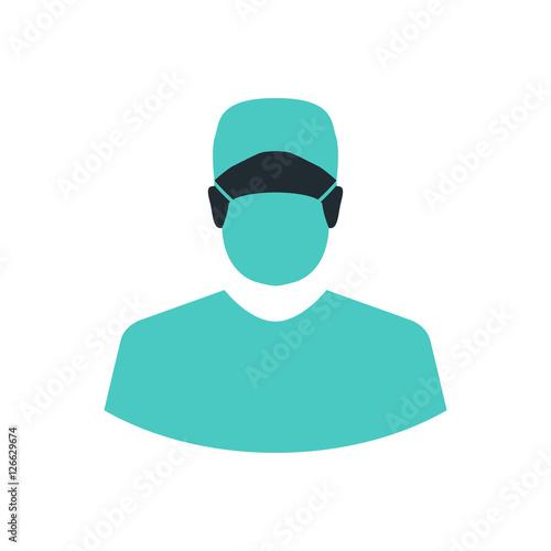 Fotografía  Icono plano silueta cirujano en fondo blanco