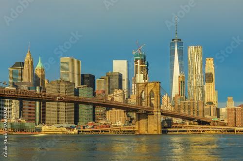 Printed kitchen splashbacks Brooklyn Bridge View to Manhattan from Brooklyn Bridge Park at night