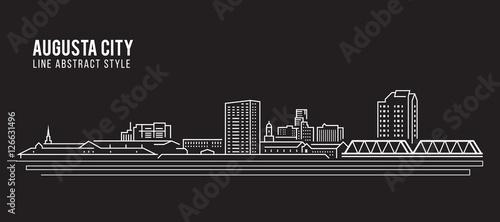 Cityscape Building Line art Vector Illustration design - Augusta city Wallpaper Mural