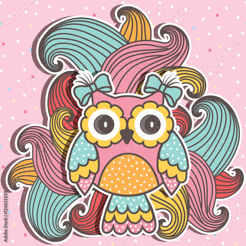 Cadres-photo bureau Hibou Beautiful, cute owl with swirls on a pink background