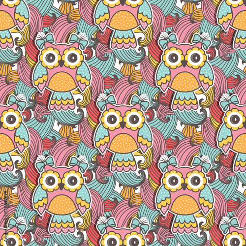 Stickers pour portes Hibou Seamless pattern of colorful owls with swirls
