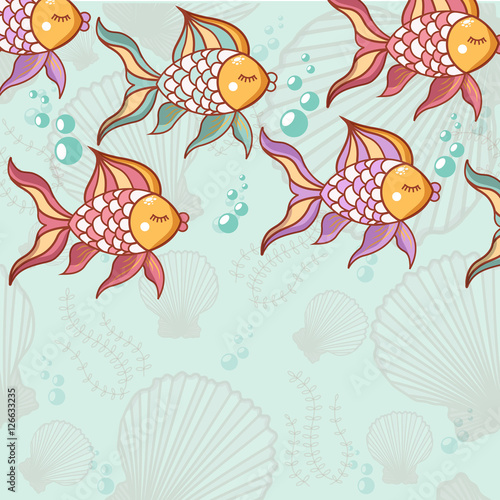 Stickers pour portes Hibou Seamless pattern of beautiful fish
