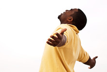 African American Man With Open Arms. Man With Open Arms. Carefree. Worship.