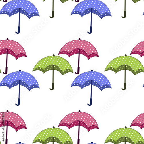 Stickers pour portes Hibou seamless pattern with umbrellas on a white background
