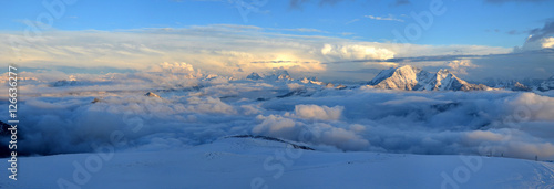 View from Elbrus in the clouds before the storm Wallpaper Mural