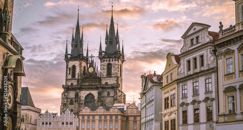 Photo  Church of our Lady before Tyn Prague - Architectural image in Old Town Square, i