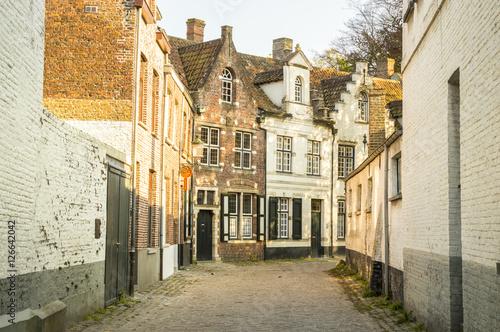 Wall Murals Bridges lonely street of brugges, belgium