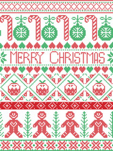 Scandinavian Style And Nordic Culture Inspired Merry Christmas Seamless Card  In  Winter Pattern Including Gingerbread Man, Candy Cane, Bauble, Christmas Pudding,  In  Stitch, In Red , Green