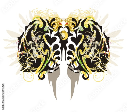 Foto op Aluminium Vlinders in Grunge Tribal butterfly splashes. Grunge abstract stylized butterfly wings with colorful floral splashes and leopard heads