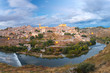 Panorama of Old city of Toledo and river Tajo at dusk, Castilla La Mancha, Spain