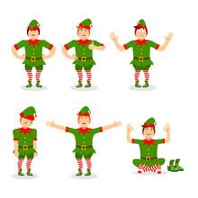 Christmas Elf Set Of Poses. Va...