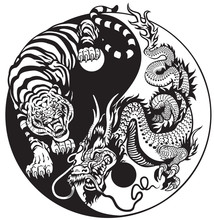 Dragon And Tiger Yin Yang Symbol Of Harmony And Balance